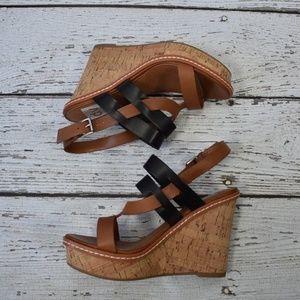 Dolce Vita Women's Black Brown Cork Wedge Sandals